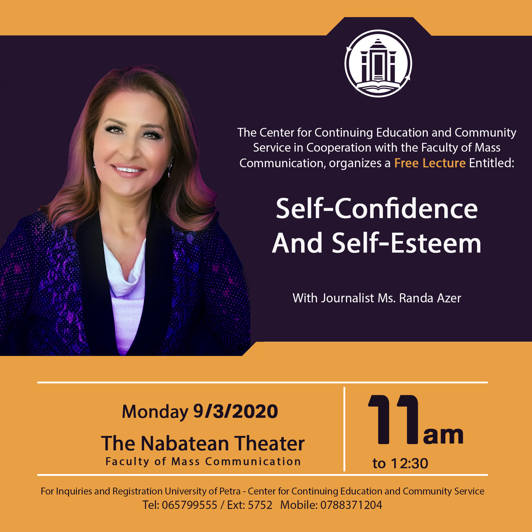 "Free Lecture Entitled: ""Self-Confidence and Self-Esteem"" with Journalist Randa Azer"