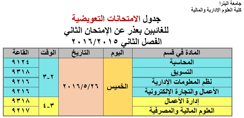 Second Makeup Exam Schedule - Faculty of Administrative and Financial Sciences.jpg